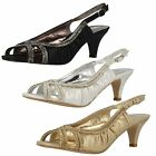Anne Michelle F10287 Ladies Sandals In Black, Gold Or Silver UK Sizes 4-8 (10A)