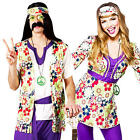 1960s Hippie Adults Fancy Dress 60s Groovy Peace Retro Hippy Mens Ladies Costume