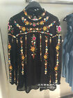 Women's Vintage Flower Embroidery Stand Collar Sexy Black Chiffon Blouse XS-L
