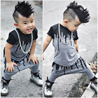 Newborn Toddler Kids Baby Boys Outfits Clothes T-shirt Tops+Pants 2PCS Set