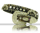 Atlas Mens Women Western Biker Hunter Silver Pistol Guns Rhinestone Camo Belt
