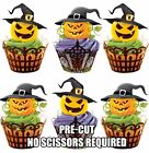 PRE-CUT Scary Witch Pumpkins Edible Cupcake Toppers Decorations Halloween Party