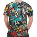 Captain America - Comic Strip Sublimation Mens T-Shirt - New & Official Marvel