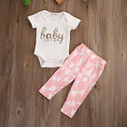 Newborn Infant Baby Girls Cotton Tops Romper Pants Legging Outfits Clothes Set