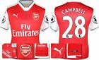 *16 / 17 - PUMA ; ARSENAL HOME SHIRT SS + PATCHES / CAMPBELL 28 = KIDS SIZE*