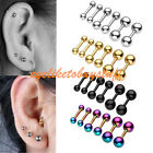 Pair 16G Stainless Steel Bar Ear Cartilage Helix Tragus Barbell Studs Earring EY