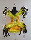 Yellow Short Dress Flare Bird Fur Feather Costume Women's Custom Size