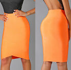 Womens New Sexy Neon Orange Elastic Arched Bandage Luxe Pencil Skirt