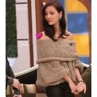 Lady's Long Sleeve Fashion Knit Pullover Off Shoulder Loose Jumper Bat Sweater