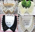 Women Detachable Vintage Lace Pearl beaded Peter Pan Collar  Choker Necklace