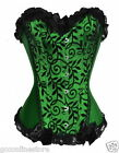 LADIES WOMENS HALLOWEEN ELEGANT GREEN LACE TRIM CORSET BUSK BURLESQUE