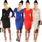 Womens Cool V Neck Long Sleeve Bodycon Slim Office Office Pencil Midi Dress