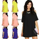 Ladies Slim Casual Front Hollow Out Chiffon Blouse Vintage O-neck Shirt LM