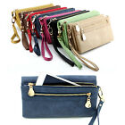 Fashion Women Wallet Long Dull PU Leather Double Zipper Clutch Purse Wristlet