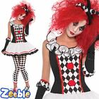 Ladies Harlequin Fancy Dress Adult Halloween Jester Costume Size 8-16