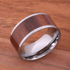 Big Island Super Wide Koa Wood Tungsten Ring Flat Men's Ring 12mm TIP186-12 image