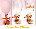 "PEARL DECORATED WINE GLASS WITH DISNEY'S ""TIGGER"" FIGURE ~ can be personalised"