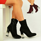 New Womens Ladies Block Clear Heel Ankle Boots Perspex Shoes Size Uk 3-8