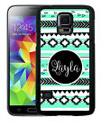 PERSONALIZED RUBBER CASE FOR SAMSUNG NOTE 3 4 5 7 MINT BLACK WHITE AZTEC TRIBAL