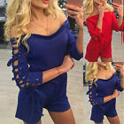 Women Fashion Playsuit Off Shoulder Backless Hollow Sexy Jumpsuit Short Romper