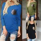 Woman Long Sleeve Pocket Loose Crewneck Top Blouse Jumpers Pullover T-Shirt