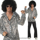 C747 60's 70's Groovy Hippie Shirt + Afro Wig Mens Fancy Dress Costume Outfit
