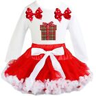 Baby Red White Pettiskirt Tutu Xmas Gift White Long Sleeve Tee Dress Outfit