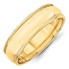 14K Yellow Gold 6mm Milgrain Half Round Wedding Band Lightweight Ring Sz 4 - 14