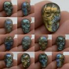 22mm Carved natural stone labradorite skull cab cabochon *each one picture*