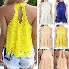 Fashion Women Sleeveless Lace Floral Dress Casual Loose Shirt Vest Top Blouse