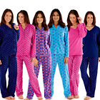 Womens/Ladies Spots/Check Fleece Pyjamas Pyjama Set Black/Blue/Pink Size 10 - 20