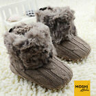 Woollen Knit Crochet baby winter boots with fur trim pink brown by Moshi Babies