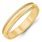 14K Yellow Gold 4mm Half Round Milgrain Wedding Band Solid Ring Sizes 4 - 14