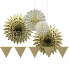 Luxurious Gold Party Wedding Decoration Tissue Paper Fan Honeycomb Balls Banners