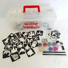 Glitter Tattoo Kit 41 - 86 Boys & Girls Stencils glue brush glitter Storage Box