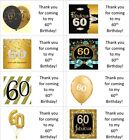 40x gold personalised 60th/60 year old labels/stickers/birthday/party/sweets/bag