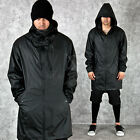 NewStylish mens tops outer coat Coated water-proof black long hood jacket
