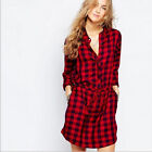 New Red Grid Long Length Plaids Check Women's Casual T-shirt Dress Tops Blouses
