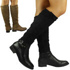 NEW WOMENS LADIES MID CALF BUCKLE KNEE HIGH LONG BIKER LOW HEEL BOOTS SHOES SIZE