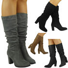 WOMENS LADIES FAUX SUEDE ZIP ROUCHED MID CALF KNEE HIGH HEEL BOOTS SHOES SIZE
