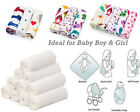 NEW Pack of 3 or 5 100% SOFT COTTON Baby MUSLIN Squares for Your Baby Boy & Girl
