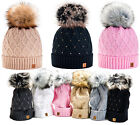 Kyпить Women Winter Beanie Hat Wool Knitted CRYSTAL Ladies Fashion Large Fur Pom Pom  на еВаy.соm