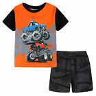 Pyjamas Boys Summer Pjs Set (sz 3-7) Orange Monster Truck Sz 3 4 5 6 7