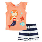 Pyjamas Baby Girls Summer Short 2 pc Pjs Set (sz 0-2) Coral Pink Mermaid Sz 0 1