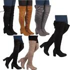 New Womens Ladies Casual Western Fashion Over The Knee High Heel Boots Shoes Uk