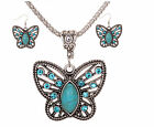 Hot Women Girl All-match Butterfly Green Auger Turquoise Necklace Earrings Set