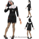 CA92  Zombie Sister Mary Nun Costume Halloween Religious Horror Fancy Dress Up