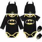 Newborn Baby Boy Batman Romper Bodysuit+Shoes+Hat Clothes 3Pcs Outfits Set 0-24M