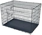 Pet Cage Folding Black 2 Door Dog Divider Cat Crate Cage Kennel Tray LC