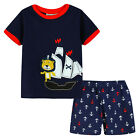 Pyjamas Baby Boys Summer Pjs Set (Sz 0-2) Navy Blue Pirate Ship Size 0 1 2